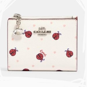 NWT Coach Card Case Wallet with Ladybug Print